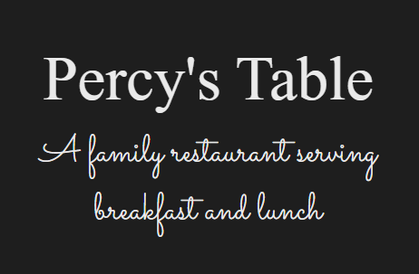 Percys Table